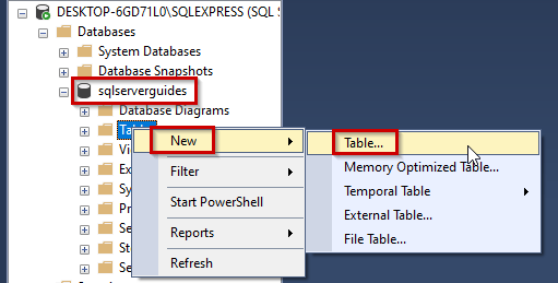 create a table in sql server management studio
