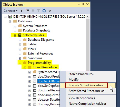 How to execute stored procedure in SQL Server using ssms