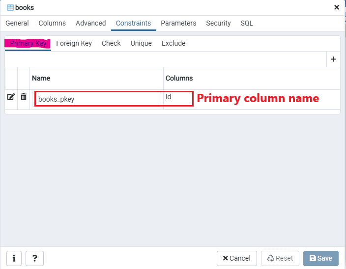 How to find primary column name using pgAdmin