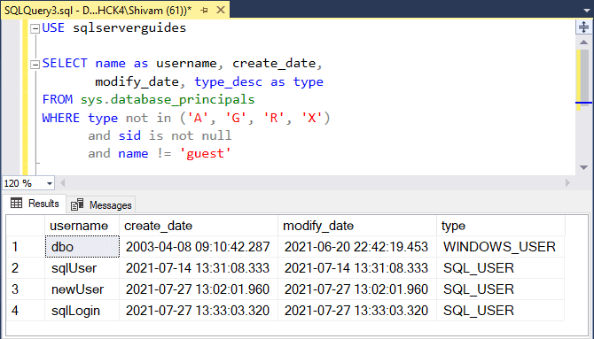How to get list of users in SQL Server