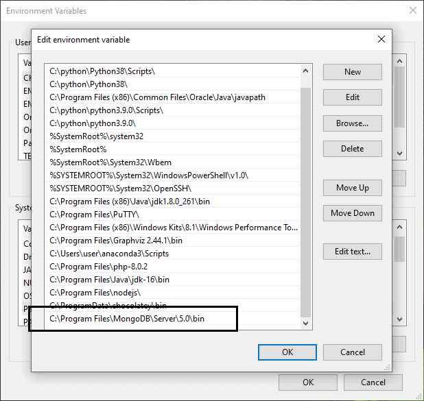 How to set path of MongoDB in windows