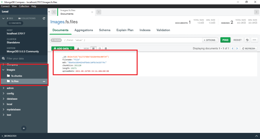 Storing the images into MongoDB database