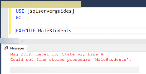 Could not find stored procedure in sql server