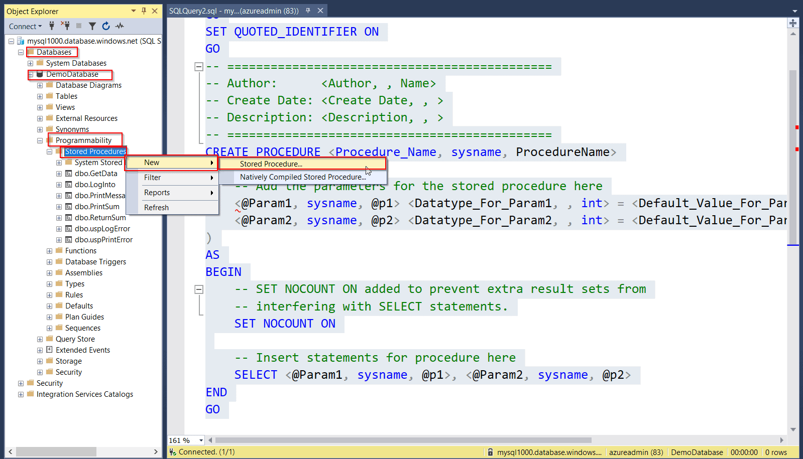 Create stored procedure template for Azure SQL database