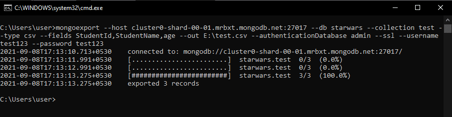 Export MongoDB documents to CSV file using atlas example