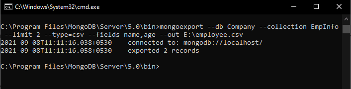 Export documents of MongoDB to CSV file