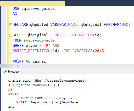 Find and replace text in sql server stored procedure using query