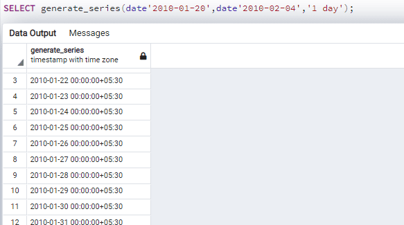 Generate date between two dates
