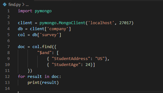 MongoDB find multiple conditions python