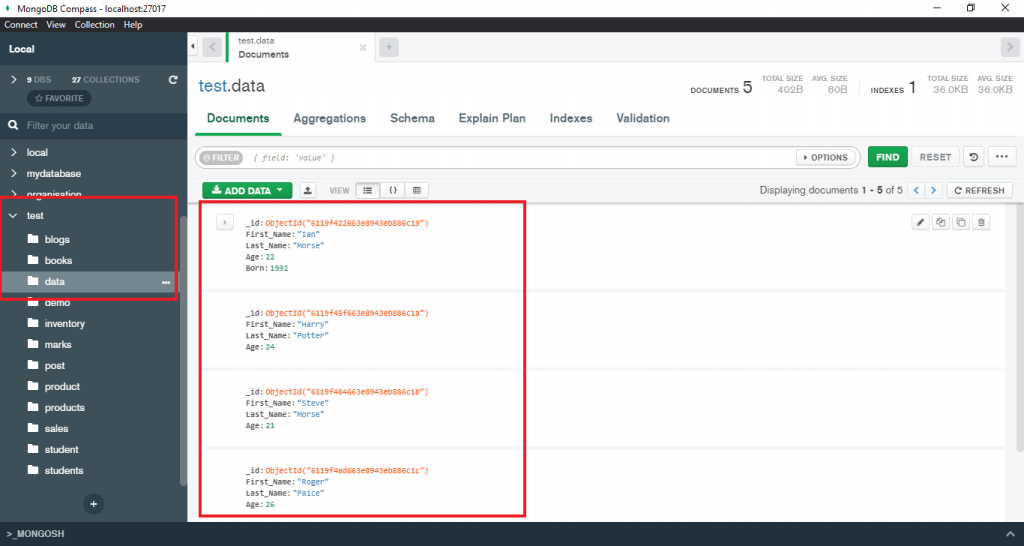 MongoDB group by multiple fields using compass