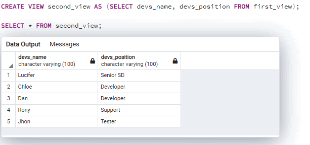 Postgresql create view based on another view
