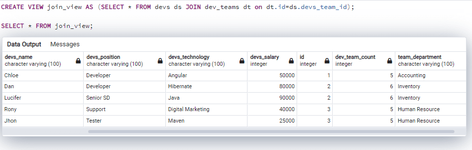 Postgresql create view with join
