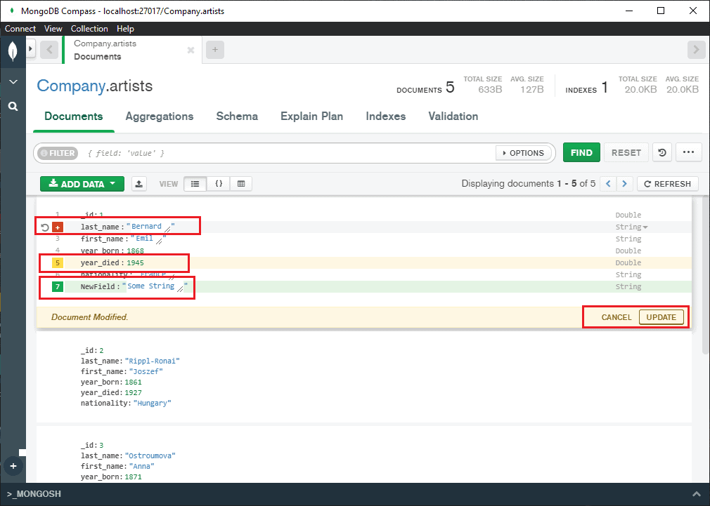 update documents in MongoDB compass