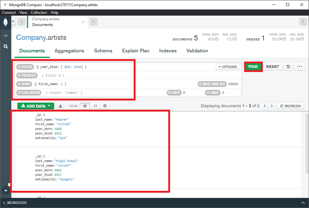 MongoDB compass find multiple values from documents