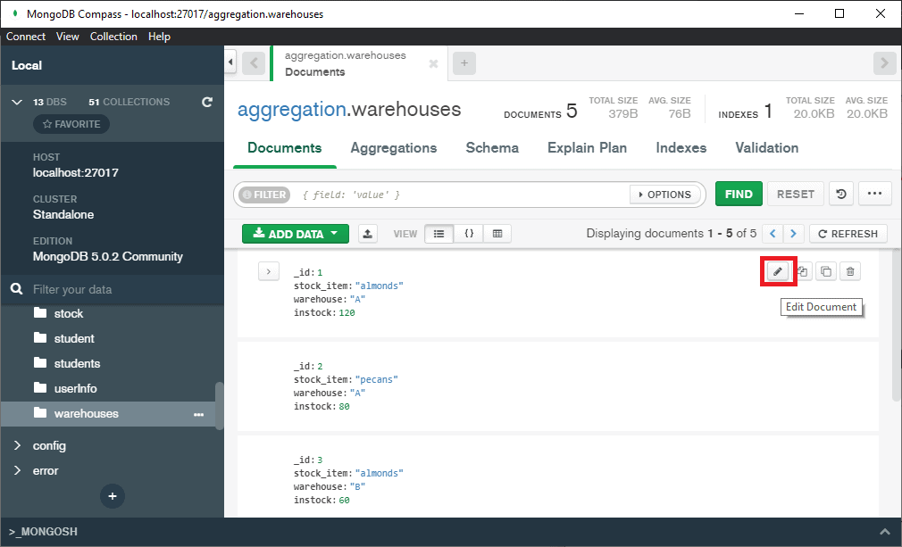 MongoDB compass remove field from the document