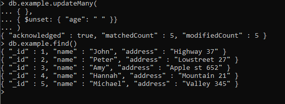 MongoDB remove a field from all document