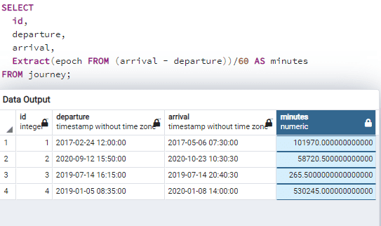 Postgresql difference between two timestamps in minutes