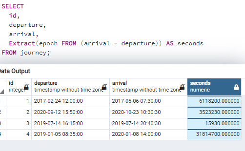 Postgresql difference between two timestamps in seconds