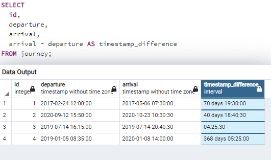 Postgresql difference between two timestamps